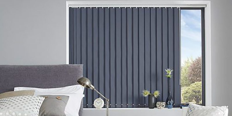 vertical blinds in a beadroom